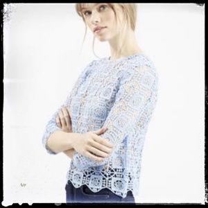 Topshop Baby Blue Crochet Scallop Hem Top Size 4